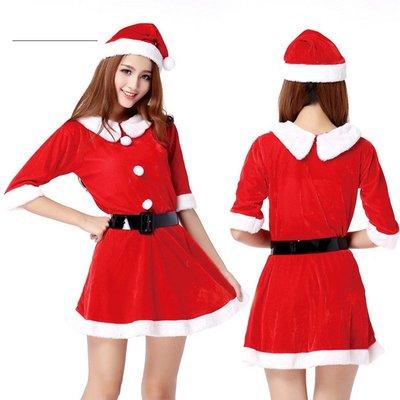 聖誕裝飾品聖誕衣服兒童成人男女聖誕衣服套裝金絲絨聖誕老人裝扮