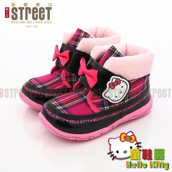 出清放送【街頭巷口 Street】Hello Kitty 可愛蝴蝶結 格紋風 童靴 保暖童短靴 KT715139BK 黑
