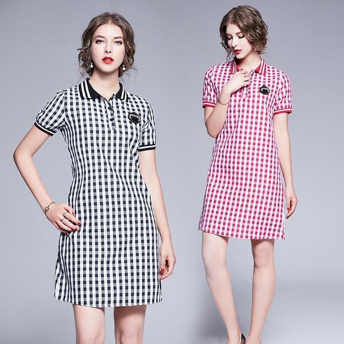 ✿ 吉米花 ✿ 特價~ B-084536 時尚潮流短袖格子連衣裙 ( 黑 2XL ) 中大碼 現貨