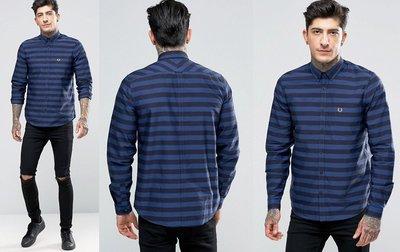 ◎美國代買◎ASOS代買fred perry深藍條紋藍色顯廋長袖襯衫~大尺碼~歐美街風