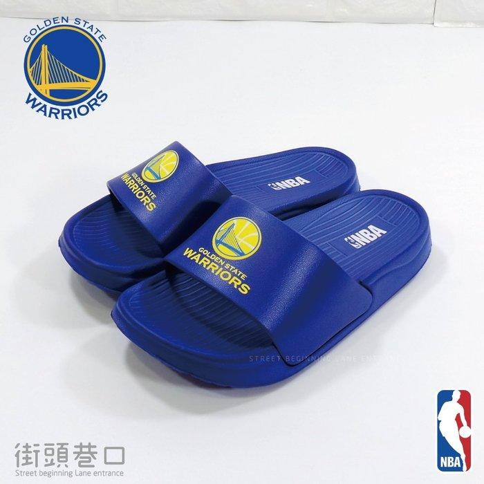 NBA 運動品牌 金州勇士隊 拖鞋 休閒鞋 親子鞋 籃球 小孩款【街頭巷口 Street】KRN74793BE 藍色