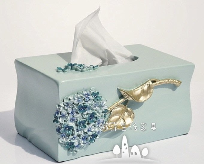 ~誠萍生活家具~歐式復古風格 紫陽花造型面紙盒藍色 抽紙桶 ~直購價$690