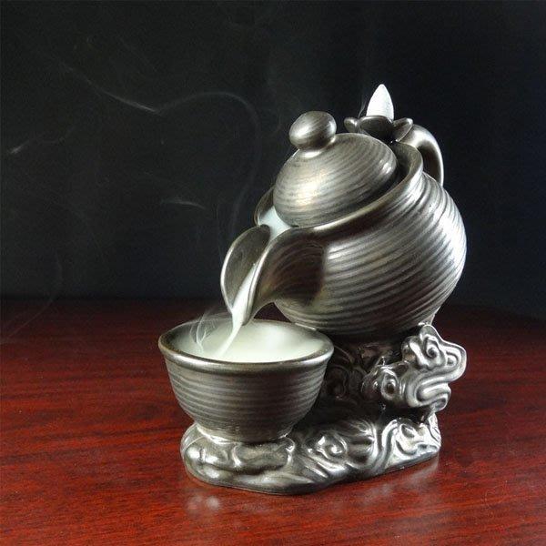5Cgo【茗道】含稅會員有優惠 41755623717 陶瓷香爐大茶壺倒流香香道熏香爐陶瓷盤創意擺件精品居家塔香煙具