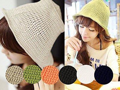 超哥小舖【A4008】甜美可愛韓系風 糖果色網眼編織毛線漁夫帽休閒風捲邊毛線帽針織帽毛帽