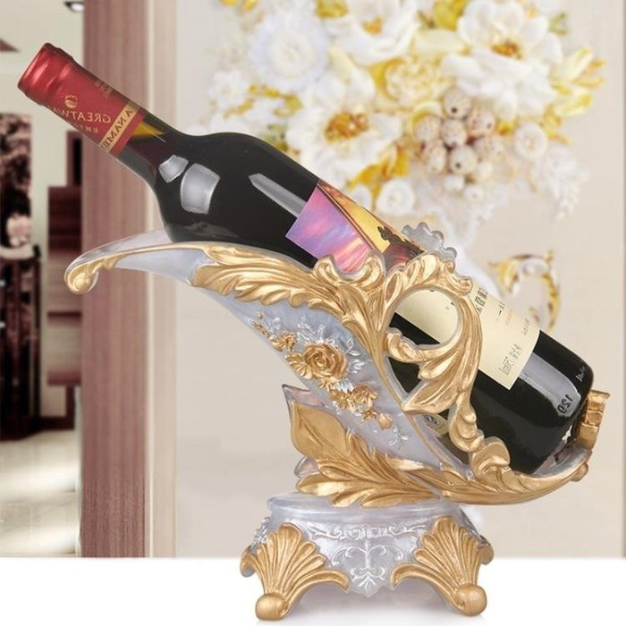 酒架歐式葡萄酒架創意紅酒架樹脂客廳家用酒櫃壁櫥裝飾品擺件空酒瓶架-紫色薇洋-可開發票