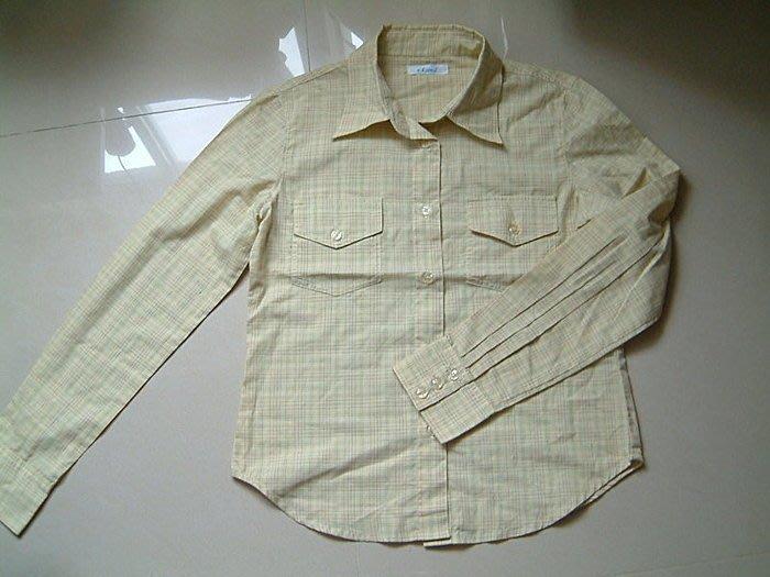 【e-Land】黃色細格子雙口袋長袖襯衫