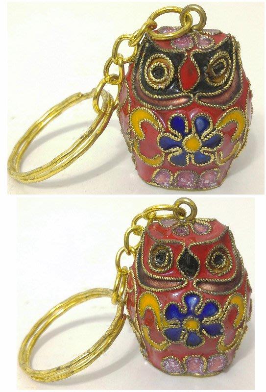 龍廬-自藏出清~景泰藍工藝品-景泰藍銅胎掐絲琺瑯彩雙面貓頭鷹鑰匙圈擺設D款/只有一個~另有它色