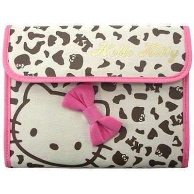 尼德斯Nydus~* 日本正版 三麗鷗 凱蒂貓 kitty 零錢包 證件夾 護照套 多用途 手拿包 手帳 豹紋款