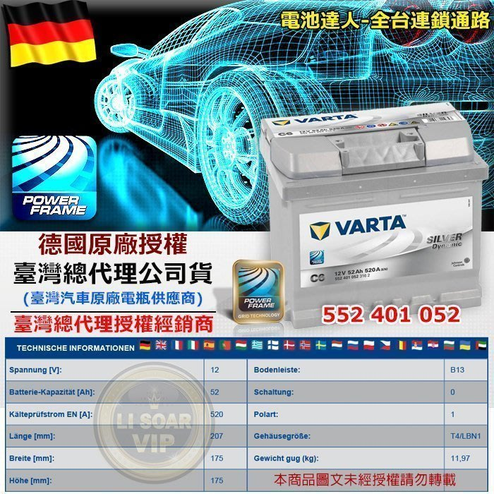 VARTA C6 德國進口 華達電池 電瓶 54801 FIESTA VITARA 新SX4 SKODA 54459