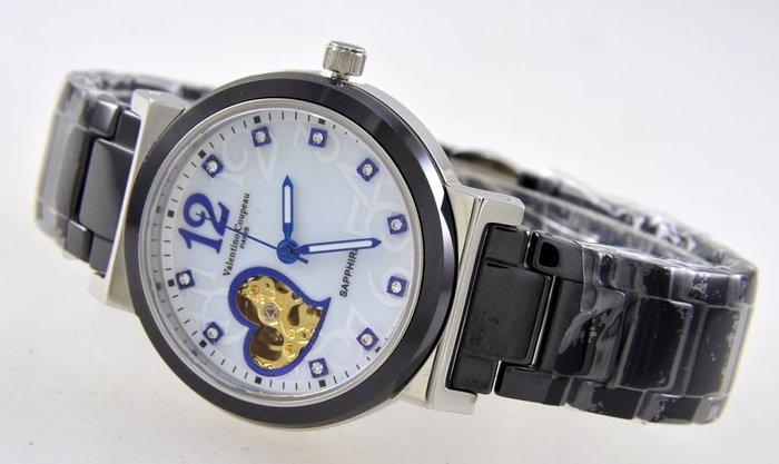 (六四三精品)范倫鐵諾(真品)錶徑3.7公分,愛心心動心型鏤空,錶背鏤空.高硬度陶瓷自動上鍊機械錶!