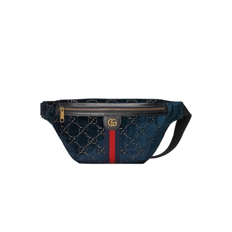 免運 | Gucci 深藍滿版GG 藍色絲絨腰包