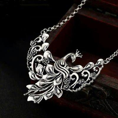 嗨,寶貝銀飾珠寶* 925純銀☆990純銀 復古民族風 孔雀梅花套鍊 項鍊☆掛墜 毛衣鍊