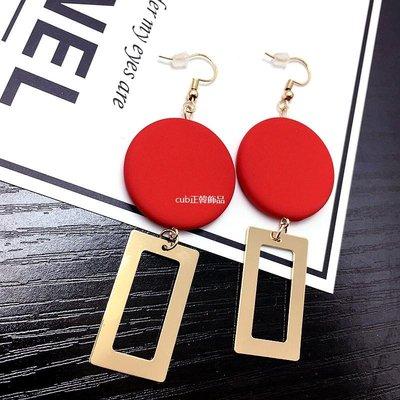 cub正韓飾品歐美夜店風街拍款耳環氣質復古紅色木頭方塊幾何拼接個性精致耳釘