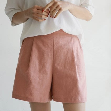 Bellee  正韓  夏天透氣包色款  後鬆緊壓摺A字棉麻褲  (8色)【G194261】 預購