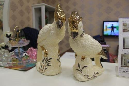 OUTLET限量低價出清美生活館 --- 全新 義大利設計款 --陶瓷描金/銀 鸚鵡 擺飾