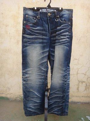 jacob00765100 ~ 正品 Big Train 墨達人 刺繡 直筒牛仔褲 size: 2L
