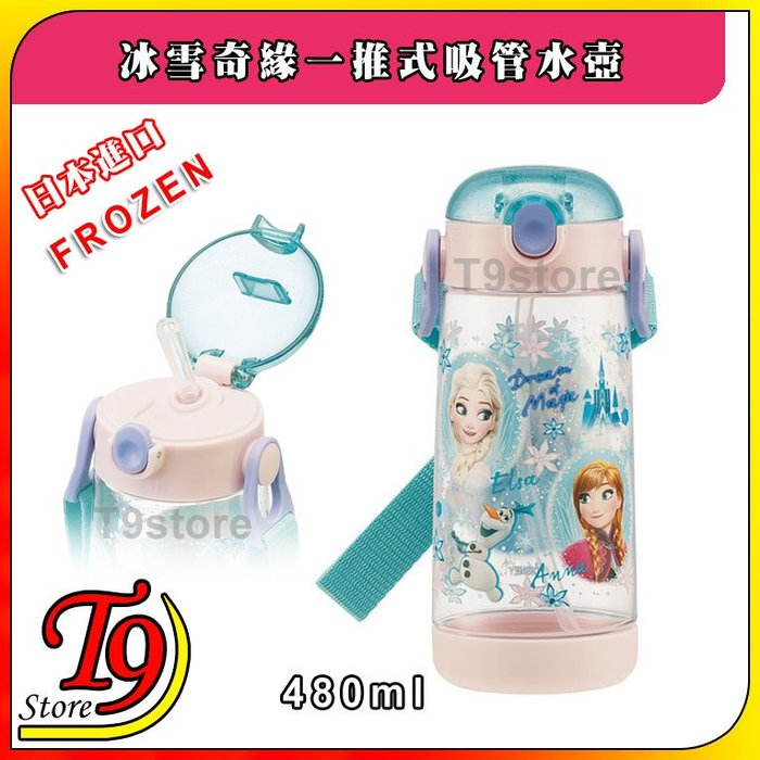 【T9store】日本進口 Frozen (冰雪奇緣) 一推式吸管水壺 水瓶 兒童水壺 (480ml) (有肩帶)