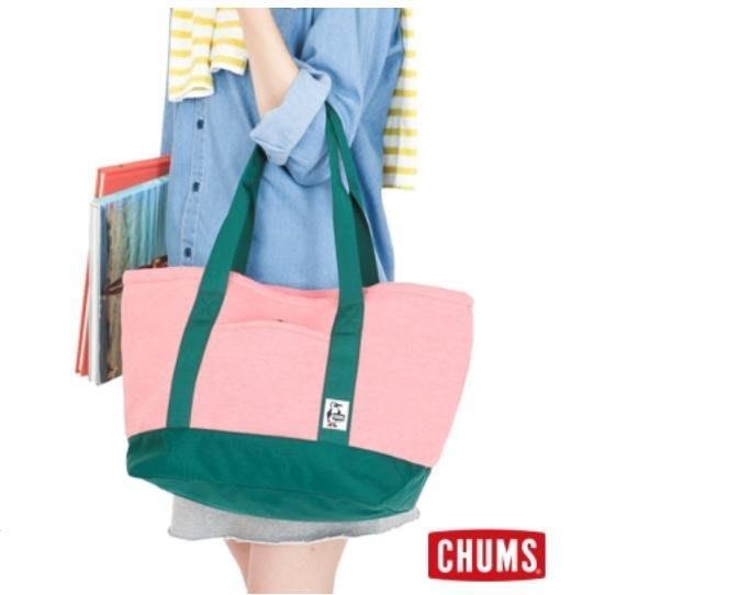 【戶外風】CHUMS Sweat Nylon 休閒托特包 M 珊瑚粉/綠 建議售價$2,080