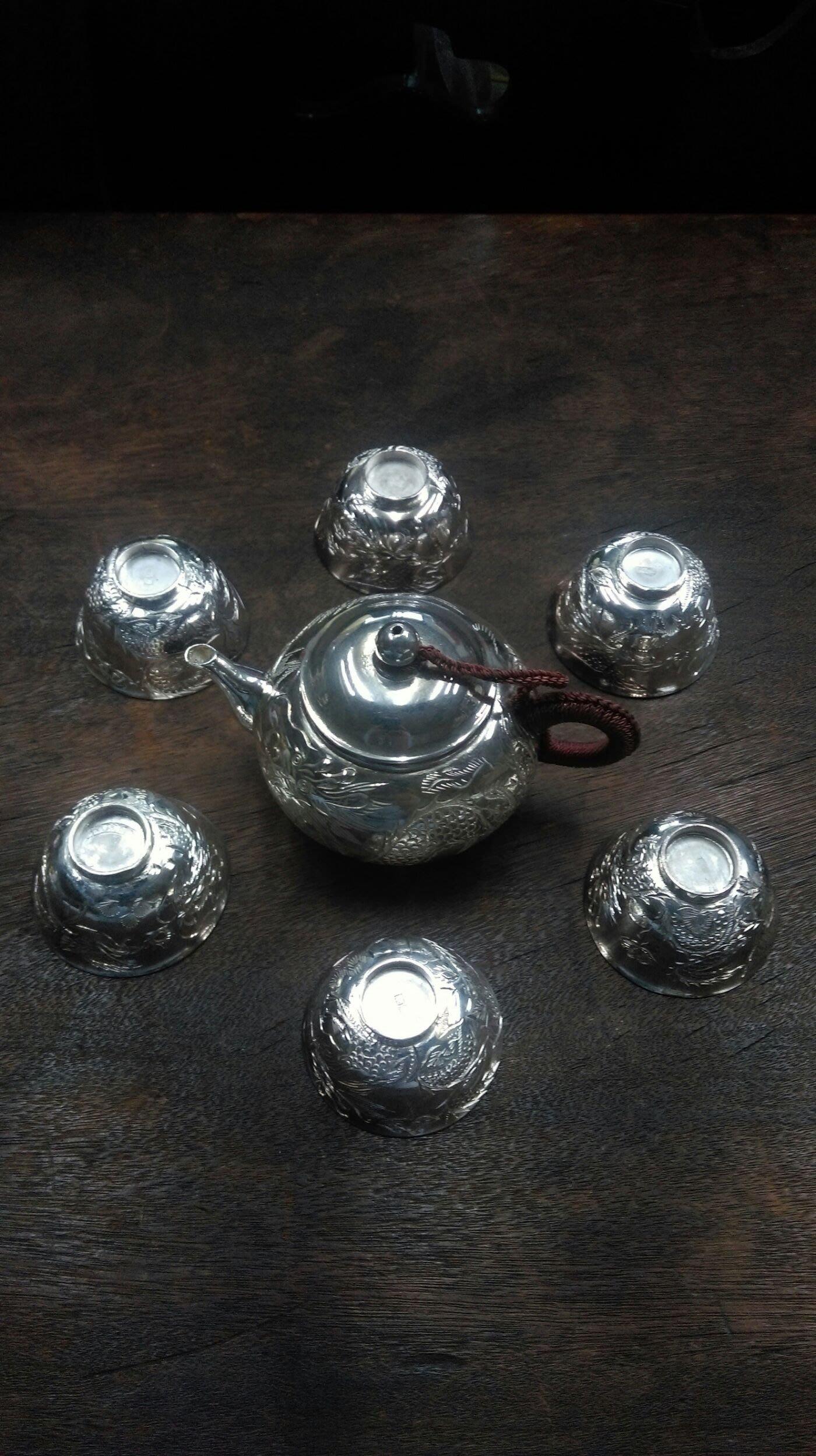 大草原典藏,台灣60年代純銀,水林老銀壺組,