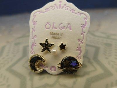 ☆Chia sweet shop☆日本帶回精緻小巧星球星星月亮貼耳耳環 閃耀黑 日本製