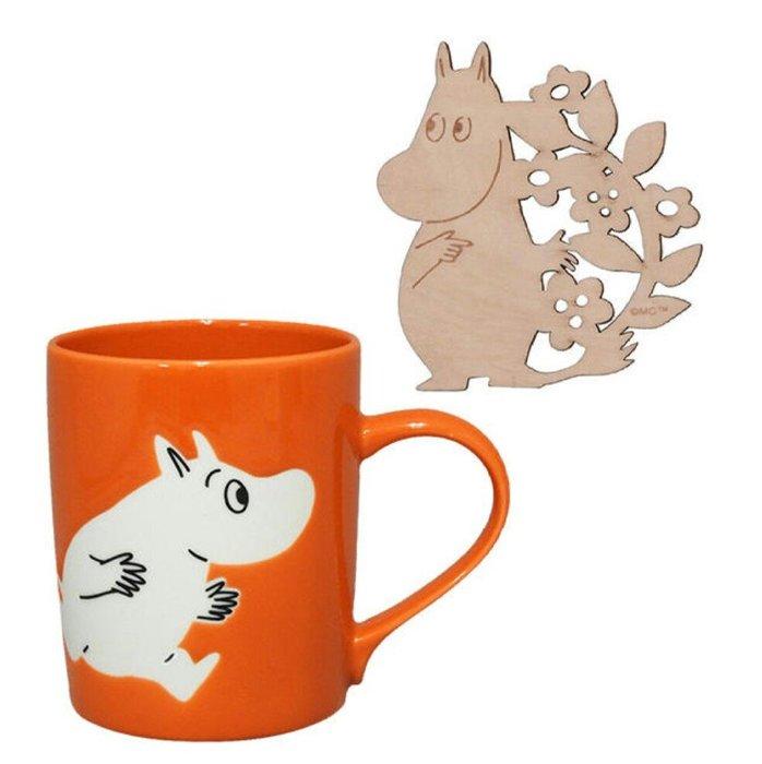 天使熊雜貨小舖~日本MOOMIN陶瓷馬克杯附木製杯墊 現貨:嚕嚕米/亞美2款   全新現貨