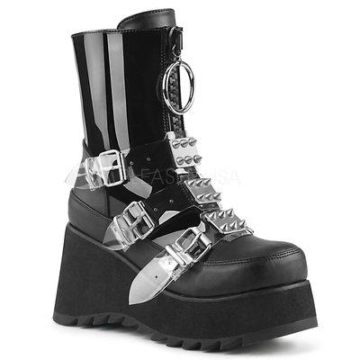 Shoes InStyle《三吋》美國品牌 DEMONIA 原廠正品龐克蘿莉錐形鉚釘漆皮厚底楔型靴 有大尺碼 『黑色』