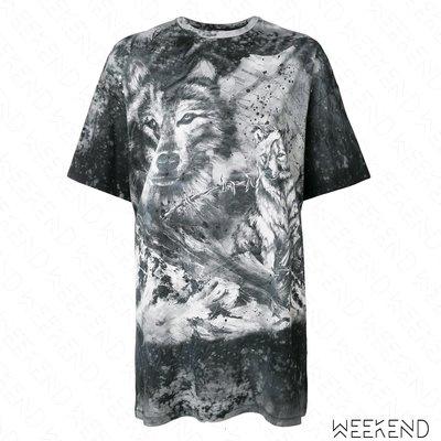 【WEEKEND】 BALMAIN Wolf Oversized 狼 印圖 破壞 短袖 寬鬆 T恤 上衣 黑白