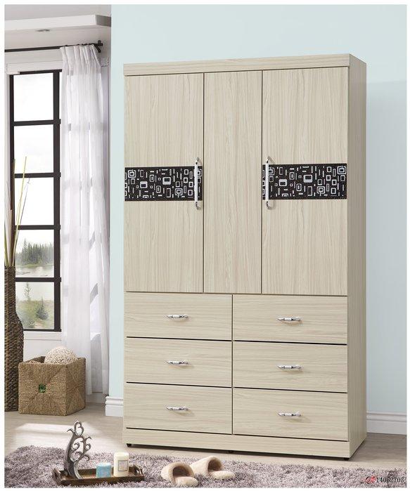 【全台傢俱批發網】 米蘿4x7尺衣櫃 白雪杉色 噴花造型衣櫥 傢俱工廠直營特賣