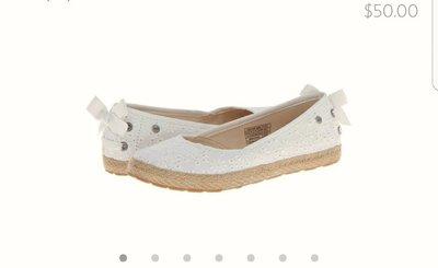 UGG Tassy eyelet蕾絲草編蝴蝶結平底休閒鞋(後腳跟有非常舒服的羊毛喔)