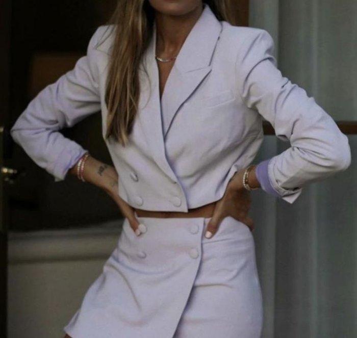 #西裝#歐美新款秋季紫色短款小西裝外套U20-36385