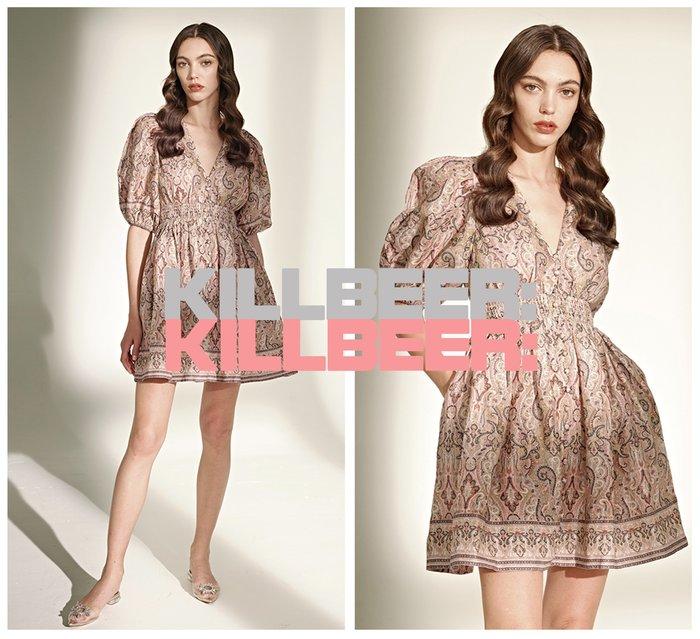 KillBeer:身為名媛的自傲之 歐美復古華麗巴洛克宮廷風設計感變形蟲圖騰印花泡泡袖V領傘擺洋裝連身裙022403