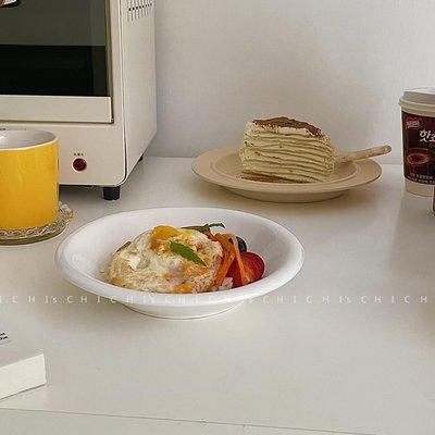 〖霓裳優品〗 CHICHI'S INS餐具簡約式白色陶瓷翻邊湯碗西餐盤居家用碗餐廳點心盤N5B3