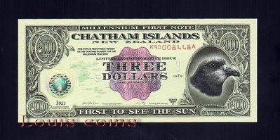 【Louis Coins】B213-CHATHAM ISLANDS--1999 查坦群島塑膠鈔票