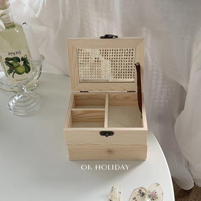 首飾收納盒ok holiday*韓國ins風實木首飾盒帶鏡子飾品口紅耳釘項鏈收納規格不同價格不同聯繫客服報價