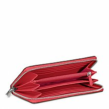 Coco小舖COACH 49355 SAFFIANO LEATHER ACCORDION ZIP WALLET 紅色