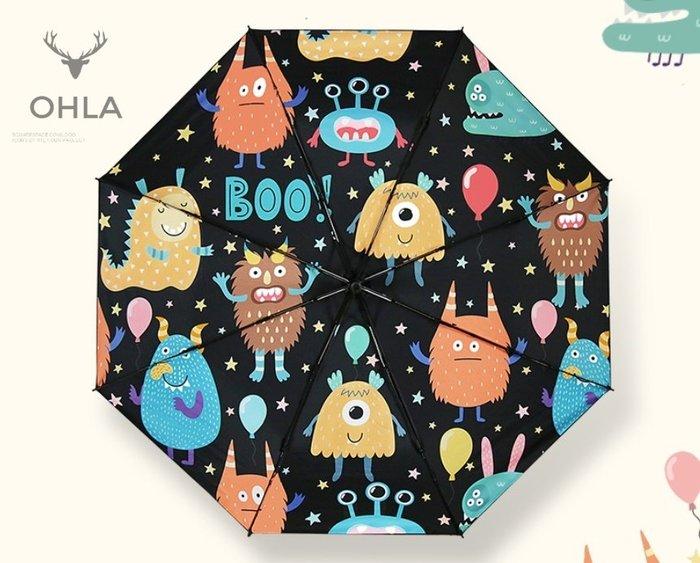 ☆歐拉雜貨屋☆日系搞怪外星人派對印花防曬外層黑膠傘抗UV雨傘三折傘摺疊傘禮物