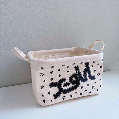 日本 X-Girl 米白色帆布 黑色LOGO 小SIZE 收納箱 ($200 包順豐)