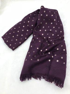 COACH F39389 深紫色logo配銀星星 披肩圍巾