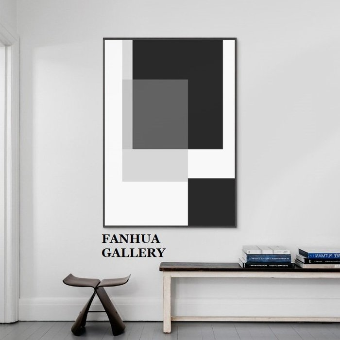 C - R - A - Z - Y - T - O - W - N 極簡黑白灰抽象裝飾畫色塊藝術創意現代簡約飯廳巨幅掛畫