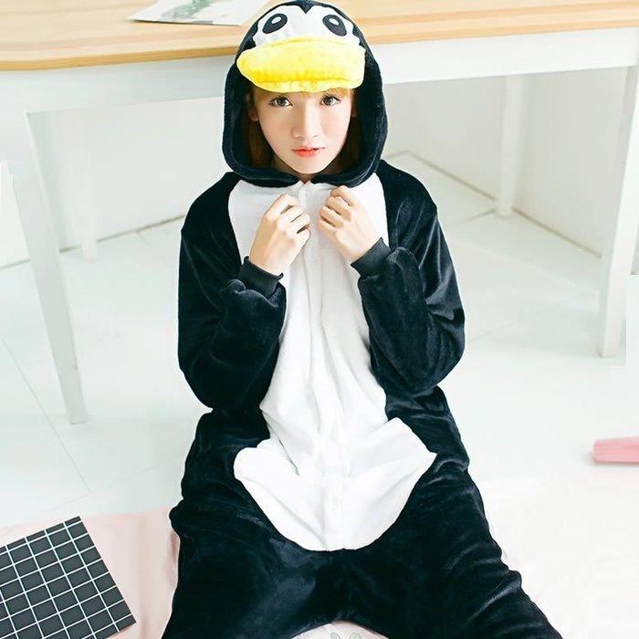 艾莉小舖 卡通連體睡衣企鵝動物冬季法蘭絨可愛黑色秋情侶演出服cosplay