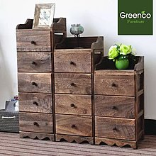 GR201831C- 五桶復古烤漆實木櫃。30cm x 25cm x 92cm H