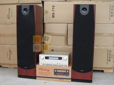 【音響倉庫】Rising 旗艦級高階專業卡啦OK組(雙10吋主喇叭MS-770)(卡拉OK擴大機GA-870)紅木色
