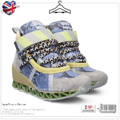 .UK High Street.英國代購 CAMPER 魚骨閃電蛇紋增高 HIMALAYAN 藍色麂皮球鞋 高筒休閒鞋