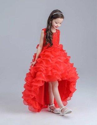 韓版女童蓬蓬 公主裙 畢業演出服 鋼琴演奏花童 紅色禮服 洋裝紗裙 019還有多款冰雪奇緣
