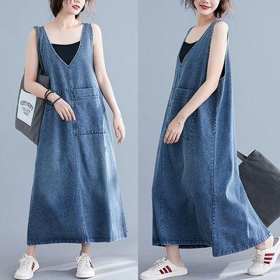 【An Ju Shop】原創設計文藝範 四季款 V領背心裙連衣裙女中長款復古做舊大碼貼布口袋背帶裙洋裝~CI035209