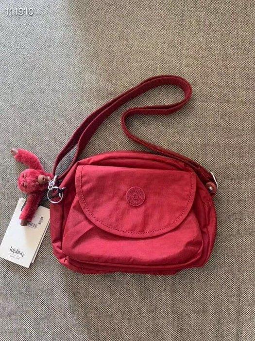 Kipling 猴子包 K15313 復古深紅 休閒 多用拉鍊款輕量斜背肩背包 旅遊 限時優惠