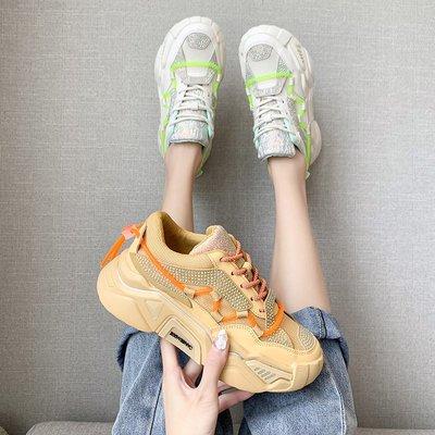 老爹鞋女2020夏季新款時尚百搭網紅ins潮厚底透氣學生系帶運動鞋