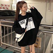 [Margot]2018新款秋季女裝韓版中長款原宿風寬松字母套頭超火衛衣上衣外套