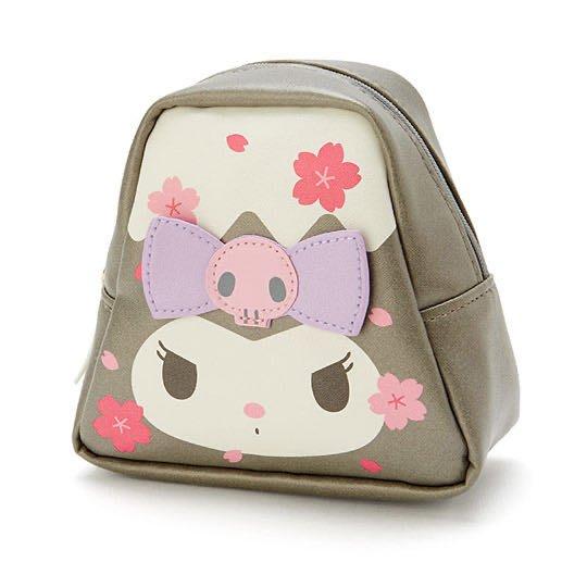 酷洛米 富士山造型皮質化妝包(灰白收納包.萬用包.)燦爛櫻花系列