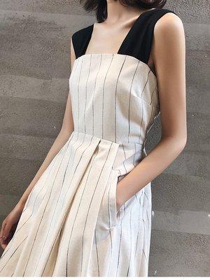 . NL Select Shop .設計款後背心機 條紋背帶裙 小露背 無袖長洋裝 度假長裙 連身裙 zara asos